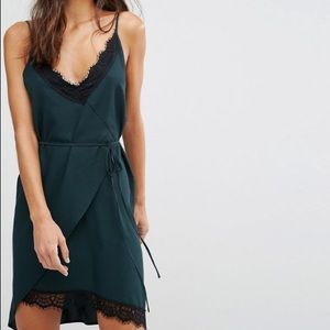 ASOS lace camisole wrap dress