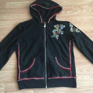 Embroidered zip up hoodie