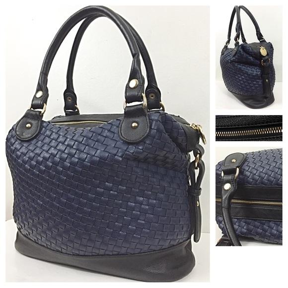 Deux Lux Deux Lux Woven Vegan Leather Bowler Handbag