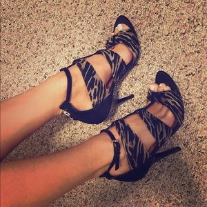 Guess Shoes - GUESS Strappy Animal Style Print Heels/Pumps