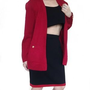 St. John Dresses & Skirts - • St. John • Red and Black Knit Skirt
