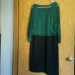 NWT The Limited 2 in 1 Green Dress sz 14