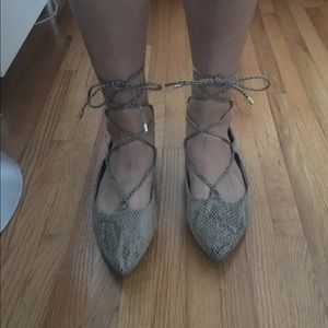 Print Lace Up Ballet Flats - Old Navy
