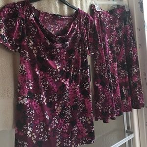 Mauve Print Blouse and Skirt.