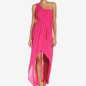 BCBG Kail pink one shoulder gown