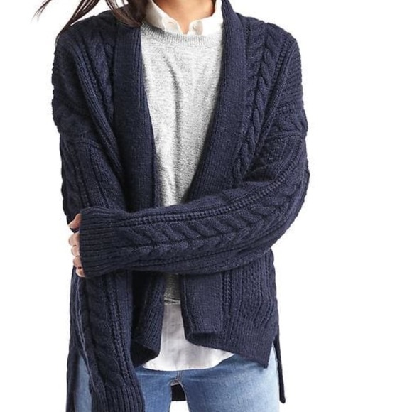 57% off GAP Sweaters - NWT Navy Gap Cable knit hi-lo cardigan from ...
