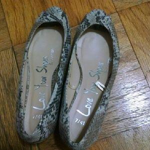 Snakeskin peep toe mini wedge shoes