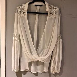 Zara white sheer blouse