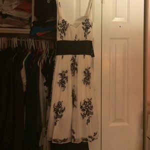 Black and white dress with black sash
