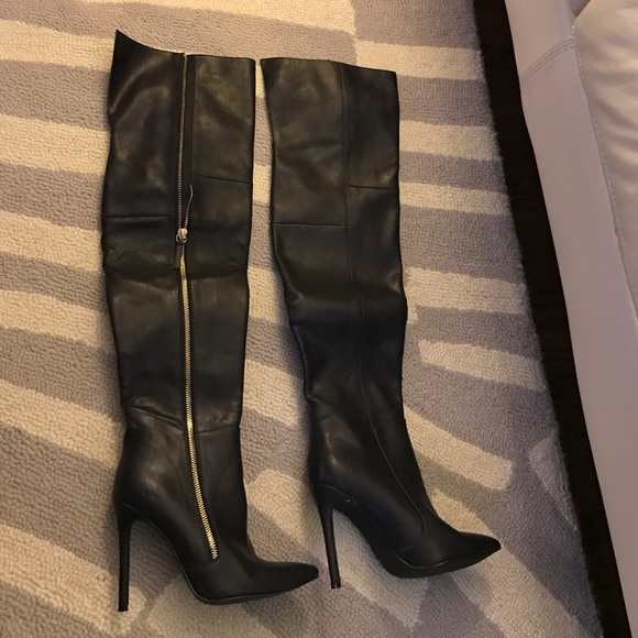 967f6076dba Steve Madden Shoes | Navy Leather Over Knee Boots Size 6 | Poshmark