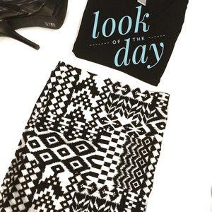 Tribal Inspired Print Pencil Skirt