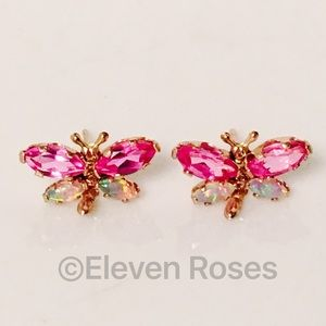 Other - 10k Gold Opal & Pink Sapphire Dragonfly Earrings