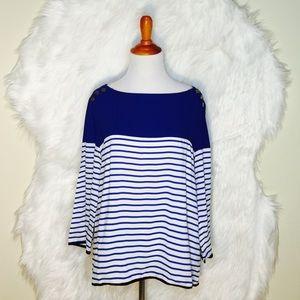 Zara White/Blue Stripe 3/4 Sleeve Top