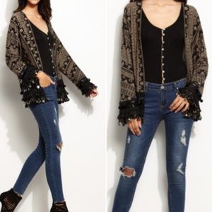 Tribal Print Coin Fringe Trim Kimono. Price firm.