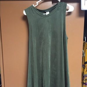 Olive suede trapeze dress!
