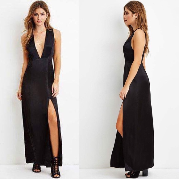 7cef04cdd1 Forever 21 High Slit Deep V Neck Black Maxi Dress