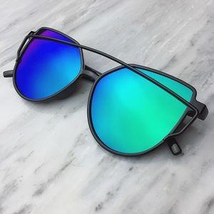 LAST 1! Blue mirrored sunglasses black cat eye