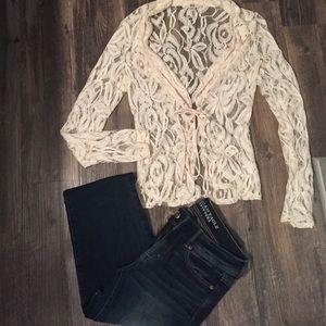 Cream lace cardigan