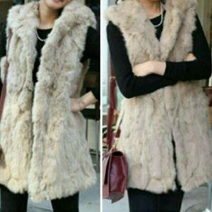 Jackets & Blazers - Long Hooded Faux Fur Vest