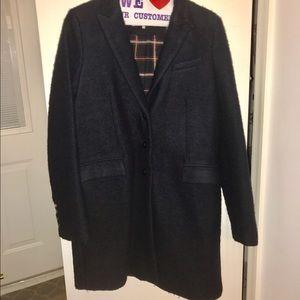 Zara Women Navy Single Breasted Coat