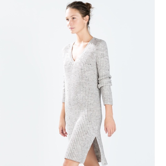 Zara Grey Sweater Dress 5