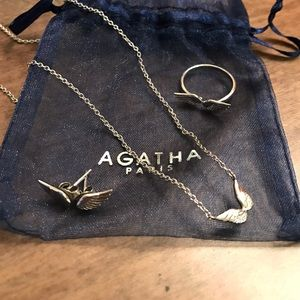 Agatha Paris Silver Wings Jewelry Set!