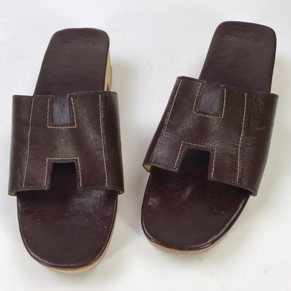 cb8a007a54 Hermes Shoes   Vintage Brown Leather Wood Slides Heel 37   Poshmark