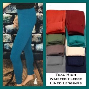 Pants - Teal Fleece Lined Leggings