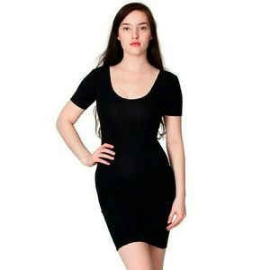 American Apparel Black Double U Neck Dress