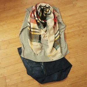 Accessories - Final Sale Red/Blue/Beige striped blanket scarf