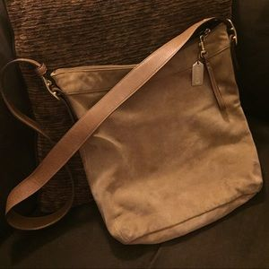 Coach tan suede leather crossbody messenger bag