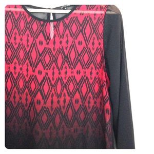 19 Cooper Tops - Red/Black Gradient Print Blouse