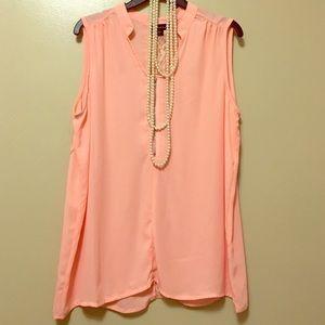 Salmon pink sleeveless blouse w/lace back