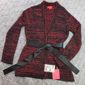 Narciso Rodriguez Sweaters - Red & Black Marled Belted Cardigan Sweater Coat