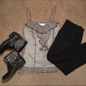 Black/White Striped Tank