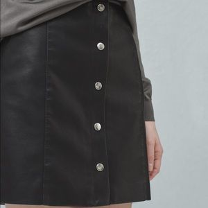 Mango leather button skirt