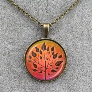 Autumn Leaf Tree Of Life Glass & Brass Necklace