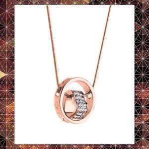 BOGO NWT Swarovski Rose Gold Heart Circle Necklace