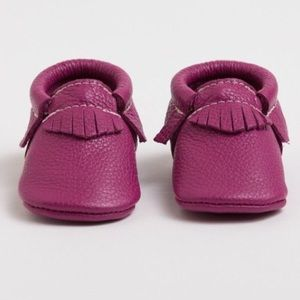 Raspberry Leather Moccasins