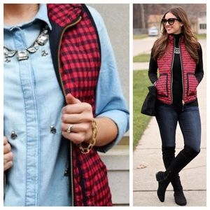 J. Crew gingham quilted puffer vest
