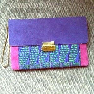 Club Monaco Handbags - Club Monaco purple plum & pink satchel bag new
