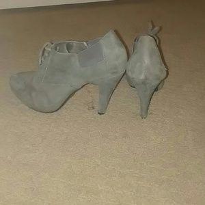 3 inch closed toe suede heels