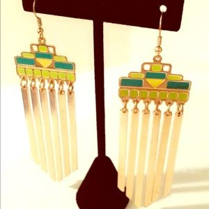  Green & Yellow Dangle Earrings 