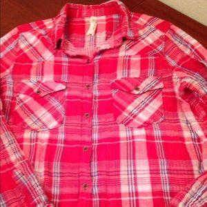 SEVEN 7  cotton red plaid long  sleeve shirt