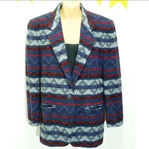 Vintage Jackets & Blazers - Vintage Aztec Striped Wool Blazer Jacket sz 8 J12