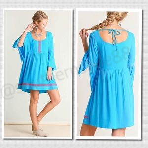 Beautiful Blue Bell Sleeve Dress BNWT