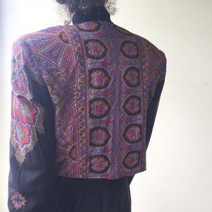 Vintage 80's Paisley Cropped Bolero Jacket size M