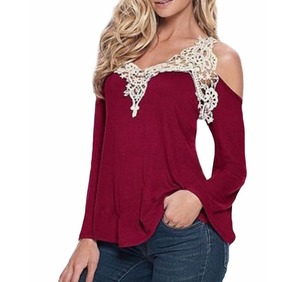 79e914db35916 Elegant and Sexy Red Open Shoulder Long Sleeve Top