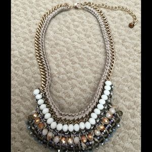 Nocturne beaded statement necklace on leather
