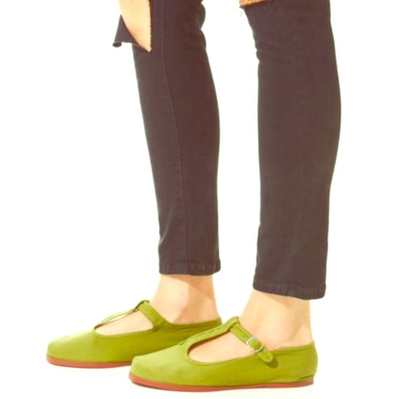 Olive Green T-Strap Mary Jane Flats